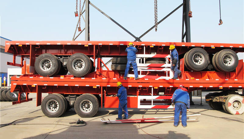 Transport and marine transportation of container flat trailers